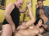 Nasty slutty brunette gets double-dicked on the sofa in the yellow room