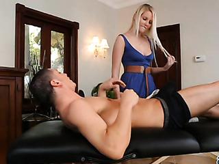 beautiful blonde girl massages