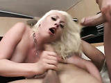 Blonde slut in thorn tights recieves double penetration and deepthroating