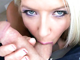 Licked and sucked first, a hard cock entered behind the pussy of a blue-eyed blonde
