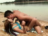 Passionate girl with small tits gets railed near the lake