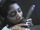 Horny Latina loves to stuff a giant cock in her mouth.