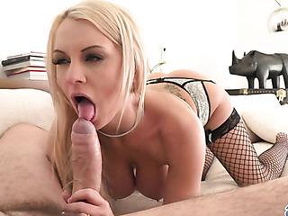 busty blonde black stockings