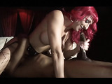 Hot redhead in fishnets gets her pussy licked while she sucks cock.