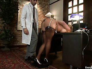 ponytailed blonde doctor nylons
